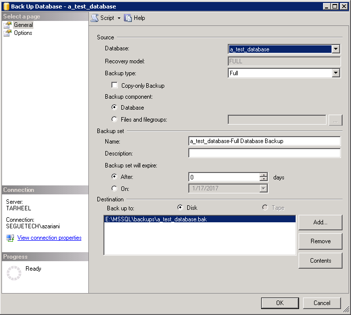 How to Create and Back Up a SQL Server Database Part 1 Image 7